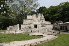 Muyil ancient Maya site, Mexico. Muyil was one of the earliest and longest inhabited ancient Maya sites on the eastern coast of the Yucatan Peninsula. It is royalty free stock image