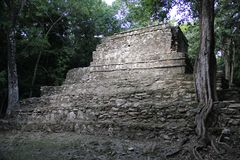 Muyil ancient Maya site, Mexico. Muyil was one of the earliest and longest inhabited ancient Maya sites on the eastern coast of the Yucatan Peninsula. It is stock images