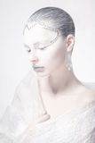 Muza. Theatrical styl. Profil kobiety twarz - Kreatywnie Karnawałowy Makeup Obrazy Stock