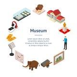 Muzealnego eksponat galerii sztandaru karty okręgu Isometric widok wektor ilustracji