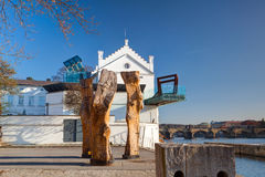 Muzealny Kampa na Vltava brzeg rzeki Zdjęcia Stock