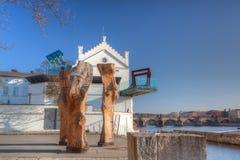 Muzealny Kampa na Vltava brzeg rzeki. Fotografia Royalty Free