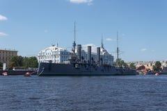 Muzealny okrętu wojennego krążownik Avrora Zdjęcie Royalty Free