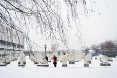 Muzeon sculpture park in Moscow in winter. Stock Image