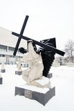Muzeon sculpture park in Moscow in winter. Royalty Free Stock Images