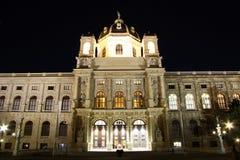 Muzeum historia naturalna Wiedeń przy nocą obraz stock