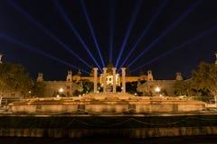 Muzeum Narodowego Barcelona laserowy przedstawienie Obrazy Royalty Free