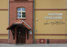 Muzeum Orkegowe (meaning Museum District) in Bydgoszcz. BYDGOSZCZ, POLAND - CIRCA APRIL 2016: Muzeum Orkegowe (meaning Museum District) in the old harbour Stock Photo