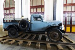 Muzeum pociągu Madryt ekspozycja kolejowego wyposażenia usługa wyposażenie i historia rozwój zdjęcia royalty free