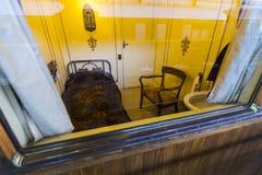 Muzeum pociągu Madryt ekspozycja kolejowego wyposażenia usługa wyposażenie i historia rozwój obrazy royalty free