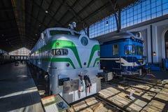 Muzeum pociągu Madryt ekspozycja kolejowego wyposażenia usługa wyposażenie i historia rozwój obraz royalty free
