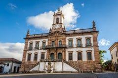 Muzeum zdrada Tiradentes kwadrat w Ouro Preto, Brazylia zdjęcia royalty free