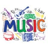 Muziek achtergrondkleurenschets Stock Fotografie