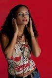 Muziek & Schoonheid in rood Stock Fotografie