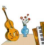 Muziek bacgkround met cello en piano, hand getrokken ontwerp vector illustratie