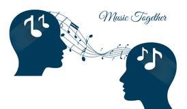 Muziek die samen, muziek, muziekhersenen, muziekminnaar delen Stock Fotografie