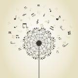 Muziek een paardebloem vector illustratie