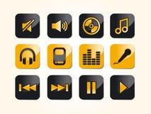 Muziek en audiopictogrammen Royalty-vrije Stock Afbeelding