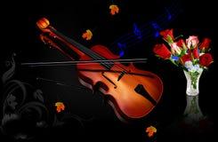Muziek en bloemen Stock Foto's