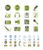 Muziek en correcte pictogrammen vector illustratie