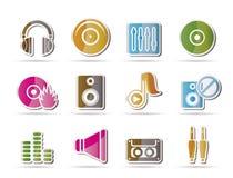 Muziek en correcte pictogrammen Stock Afbeelding
