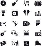 Muziek en correcte pictogramreeks Stock Afbeelding