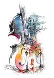 Muziek en de stad stock illustratie