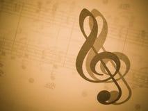 Muziek en g-sleutel Stock Fotografie