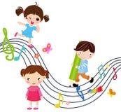 Muziek en kinderen Royalty-vrije Stock Afbeeldingen