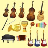 Muziek en muziekinstrumenten zoals de piano van de gitarenviool vector illustratie