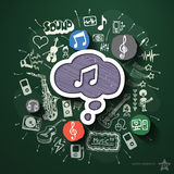 Muziek en vermaakcollage met pictogrammen  Stock Foto