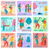 Muziek fest kaarten stock illustratie