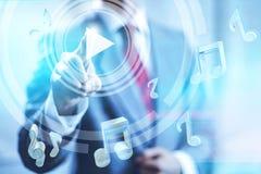 Muziek het online stromen Stock Foto's