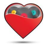 Muziek in het vectorontwerp van het hartconcept Royalty-vrije Stock Afbeelding