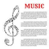 Muziek infographic malplaatje met g-sleutel Royalty-vrije Stock Foto's