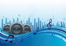 muziek met blauwe golf Stock Foto's
