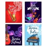 Muziek Mini Poster Set Royalty-vrije Stock Afbeeldingen
