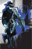 Muziek, Musicus Gebaarde Saxofoonspeler in Blauw Avondstemming Enkelen royalty-vrije illustratie