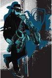 Muziek, Musicus Gebaarde Saxofoonspeler in Blauw Avondstemming Enkelen vector illustratie