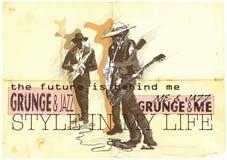 Muziek, Musicus Placard Grunge en jazzjamzitting vector illustratie