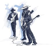 Muziek, Musicus Placard Grunge en jazzjamzitting Gitaarpla stock illustratie