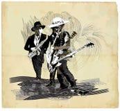 Muziek, Musicus Placard Grunge en jazzjamzitting Gitaarpla vector illustratie