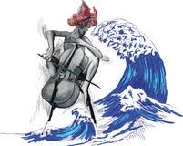 Muziek, Musicusbeeld Jonge vrouw - Chello-speler Handdr. stock illustratie