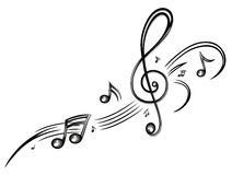 Muziek, muzieknota's, sleutel Stock Foto