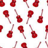 Muziek naadloos patroon met rode klassieke gitaren vectorillustratie Stock Afbeeldingen