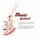 Muziek Nota's, lijnen, muzikale instrumenten Royalty-vrije Stock Afbeelding