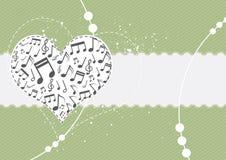 Muziek op hartachtergrond Royalty-vrije Stock Afbeeldingen