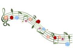 Muziek pentagram met flowerss en bladeren stock illustratie