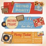 Muziek retro banners stock illustratie