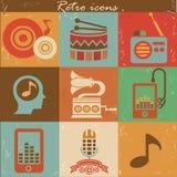 Muziek retro pictogrammen Royalty-vrije Stock Foto's